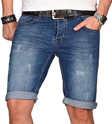 A. Salvarini Herren Designer Jeans Short Kurze Hose Slim Sommer Shorts Bermuda, Blau Used, W34