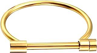 Stylish Titanium Steel D Shape Bar Screw and Shackle Cuff Bangle Bracelet for Unisex