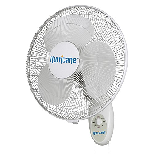 Hurricane HGC736505 Supreme Series Oscillating Wall Mount Fan, 16', White