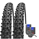 Set : 2 x SCHWALBE Smart Sam Pneu Plus Protection anti-crevaison 26 x 2.10 + robinet Schwalbe tuyaux de Course