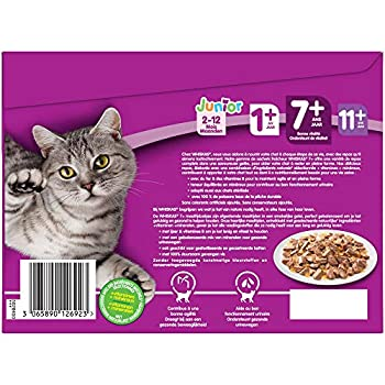 Whiskas Senior7+ - Sachets fraîcheur pour chat senior (stérilisé ou non), sélection aux poissons en gelée, 48 sachets repas de 100g