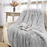 Pacapet Soft Fuzzy Throw Blanket for Couch, Shaggy Sherpa Fleece Blanket for Bed, Washable & Lightweight, Fluffy Faux Fur Blanket for Bedroom, Sofa, Home Decor, 50'x60', Light Gery