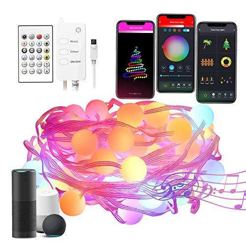 Cadena de Luces Alexa, Guirnalda Luces Inteligentes 5M Impermeable Color de Ensueño, Multicolor ajustable Sincronizar con música Funcona con Alexa y Google Home para Decorativas, Fiesta, Jardín
