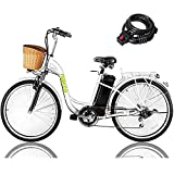 """NAKTO 26"""" 250W Cargo Electric Bicycle Sporting Shimano 6 Speed Gear EBike Brushless Gear Motor with Removable Waterproof Large Capacity 36V10A Lithium Battery and Battery Charger"""