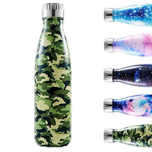 Enlifety Bottiglia Acqua in Acciaio Inox, 350ML/500ML/750ML Borraccia Termica, Isolamento Sottovuoto a Doppia Parete, Bottiglia d'Acqua Sportive per Bambino, Uomini, Donne, Verde Mimetico