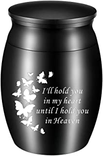 abooxiu Small Keepsake Urns for Ashes Mini Butterfly Cremation Urn for Human Ashes Stainless Steel Funeral Ash Holder-I'll...