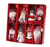 Homewit Lot de 8 Ornements Mignons de Noël Faites à la Main (4 paires de 2) en Bois