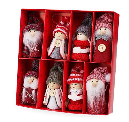 Homewit Lot de 8 décorations de Noël en bois pour sapin de Noël, décoration de fête
