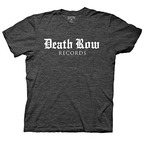Ripple Junction Death Row Records Adult Unisex Blackletter Logo Light Weight Crew T-Shirt XL Heather Charcoal