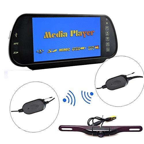 Cocar 無線7インチミラーバックモニターセット カード車載MP3/MP4/MP5プレーヤー バックカメラLED暗視機能付き ナンバープレートに取り付け 高画質 バックカメラ本体