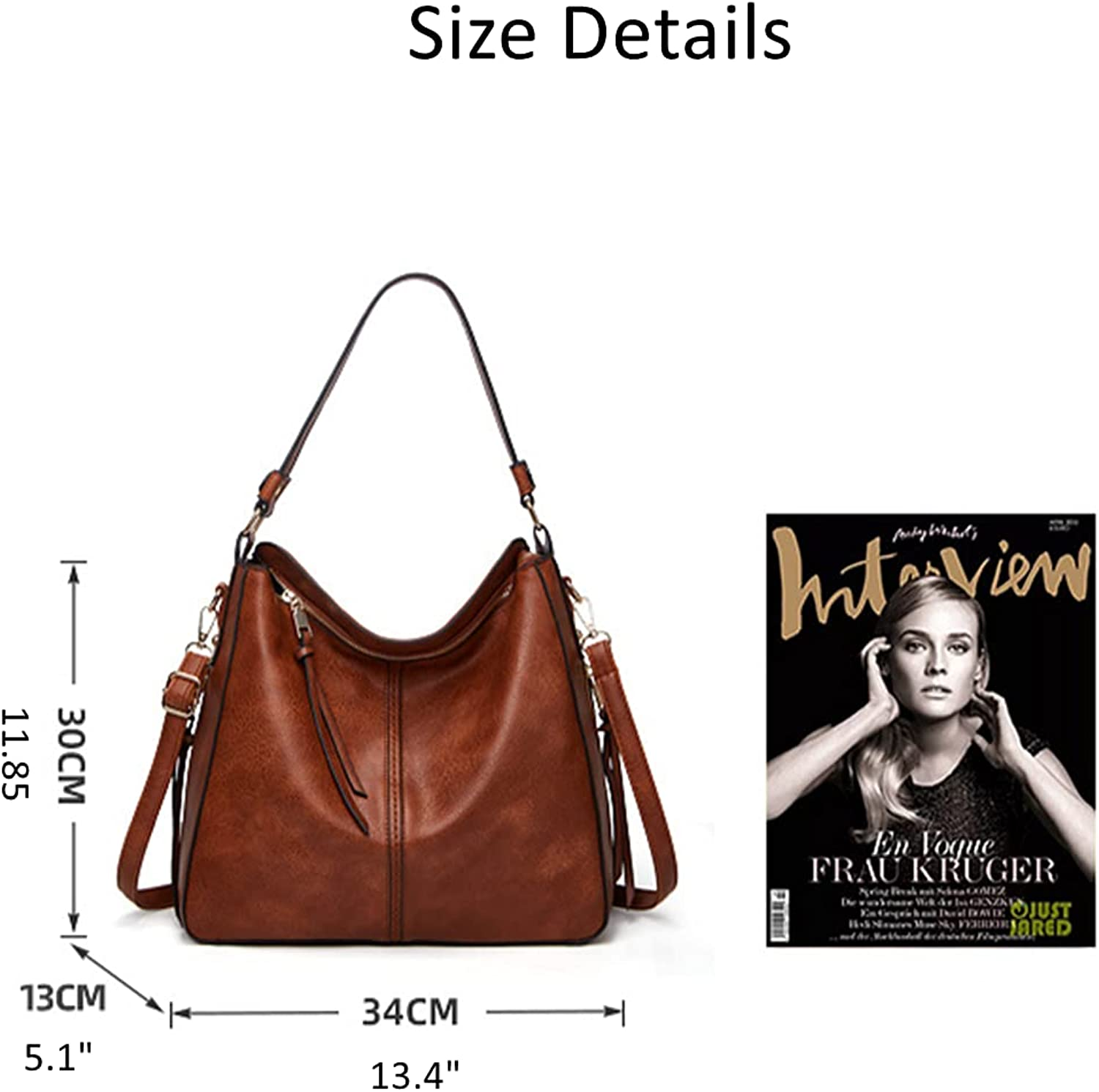 Soft Faux PU Leather Hobo Handbags Large Capacity Shoulder Bags Purses Bucket Crossbody Bags with Zipper for Women