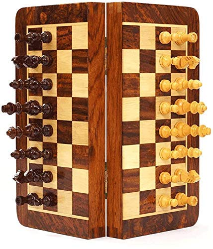 Chess set Game travel adults kids board Chess Chess Set with Folding Wooden Chess Board and Classic Standard Pieces & Storage Box,Rosewood International Chess Set,S/M Portable Che