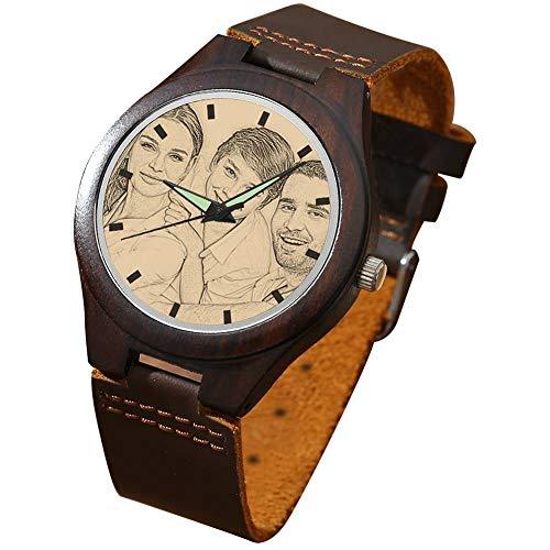 SOUFEEL Herren Holzuhr Personalisierte Armbanduhr mit Foto und Gravur Analog Japanisches Quarzwerk mit Lederarmband African Blackwood Durchmesser 45mm