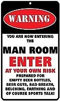 アルミニウム金属看板おかしい警告あなたは今、男性の部屋に入るあなた自身のリスクで入る情報豊富なノベルティウォールアート垂直