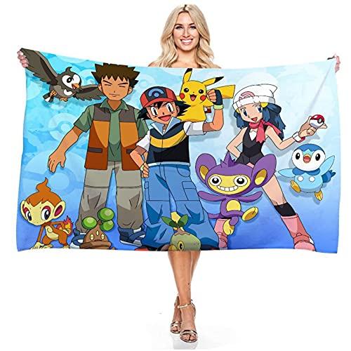 Proxiceen New Pokémon Big Beach Towel Cute Pikachu 3D - Toalla de playa personalizada, impresión digital no pegajosa (A6,70 x 140 cm)