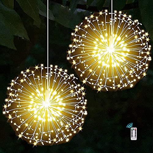Luces LED De Fuegos Artificiales, Alambre De Cobre 120 Luces LED A Prueba De Agua Flash De Navidad Sala De Control Remoto, Jardín, Terraza, Boda, Fiesta, Decoración De Bricolaje, 2 Unidades