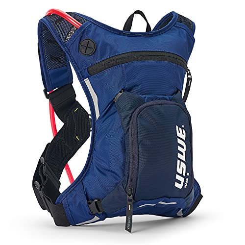 USWE Raw 3L Hydration Pack with 2.0L/ 70oz Water Bladder, a High End, Bounce Free Backpack for Enduro and Off-road Motorcycle, Black Blue