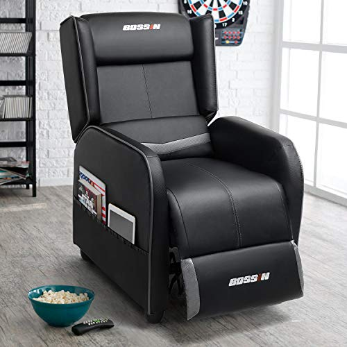 Lemberi Gaming Recliner Chair for Adults PU Leather Home Theater Seating Video Game Chairs for Living Room Ergonomic Racing Style Single Movie Gamer Lounge Sofa Grey