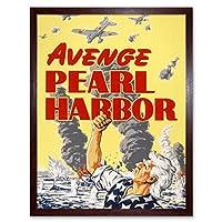 War WWII USA Avenge Pearl Harbor Uncle Sam Art Print Framed Poster Wall Decor 12x16 inch 戦争第二次世界大戦アメリカ合衆国叔父ポスター壁デコ