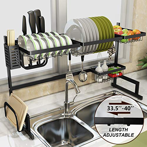 Over Sink Dish Drying Rack Sincalong Stainless Steel Kitchen Supplies Storage Shelf Space Saver Length Adjustable 33quot to 40quot L Black