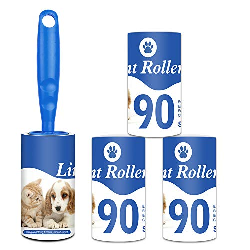 Fusselrolle 4 Rollen mit 90 Blatt + 1 Spender, Fusselroller für Kleidung, Sofa, Bett und Teppich, Tierhaarentfernung, Hunde- und Katzenfusselentferner - 4er Pack