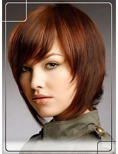 WJSW Perücke edle Glamour polierte Bob Frisur menschliches Haar 1 Zoll Monofilament Top Kurze gerade gerade kappenlose Perücke, dunkelrot
