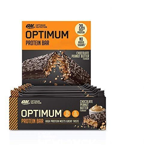 Optimum Nutrition Protein Bar 10 Barrette Proteiche con Proteine Whey Isolate in Polvere, Cioccolato, Burro di Arachidi, Scatola di 10 x 62 g