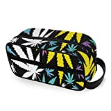 Cannabis Leafs Seamless Traveling Bags with Zippers Toiletries Bag Carry-on Travel Accessories Clear Travel Bags for Toiletries for Men and Women Travel Toiletries Bags for Toiletries A