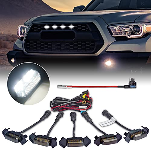 JOAVOBE LED Grille Lights for Toyota Tacoma TRD Pro Front Grille 2016 2017 2018 waterproof with Harness & Fuse (5 PCS with 1PCS free accessory light, Black Shell with White Light)