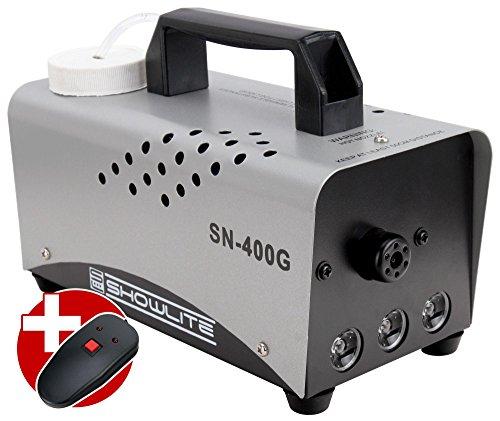 Showlite SN-400G LED Nebelmaschine grün 400W mit Fernbedienung (Integrierter Flame Lichteffekt, 8 Minuten Aufwärmzeit, 56 m³/min Nebelausstoß, 3,5 m Sprühdistanz, 3 LEDs) silber