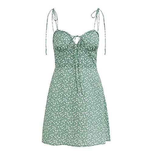 Elibone Holiday Casual Basic Sundress Dress Women Bohemian Lace Up Summer Beach Dress Women Spaghetti Short Dress Vestidos,Green,S
