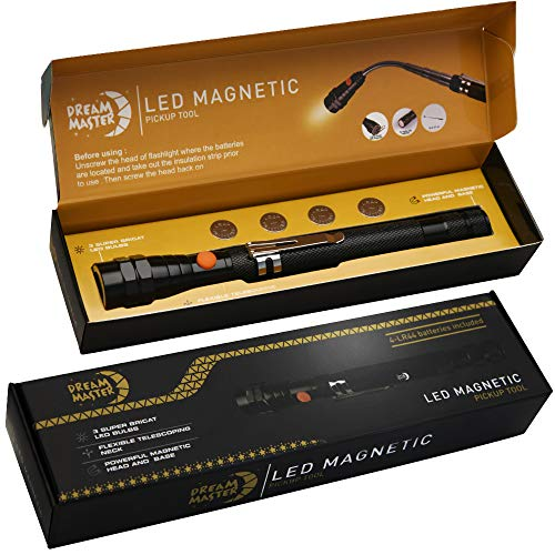 DREAM MASTER Magnet 3 LED Magnetic Pickup tool,Unique Christmas Gift for Men, DIY Handyman, Father/Dad, Husband, Boyfriend, Him, Women, 4 x LR44 Batteries (Includes 4 spare batteries) 1Pack