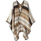 Ms. épais chaud automne et hiver de la mode châle de couleur rayures chaudes manteau bureau - Vert - 145 * 130 cm