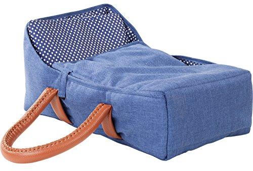Götz 3402943 Puppen Tragebettchen Denim & Spots - ideale Tragemöglichkeit für Babypuppen und Stehpuppen der Größe zwischen 27 cm und 33 cm - für Kinder ab 3 Jahren