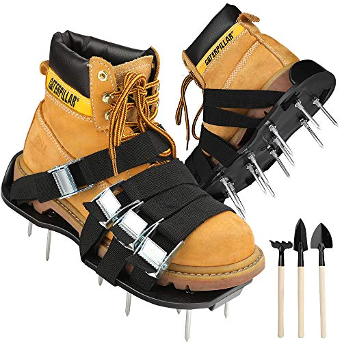 CoPedvic Aerator Shoes, Lawn Aerator Shoes with 8 Double Layers Straps, 3 Shovels to Clean Shoes, Heavy Duty Aerating Shoes Withstand Up to 400LB, Newest Designed Spikes to Aerating Lawn, Yard