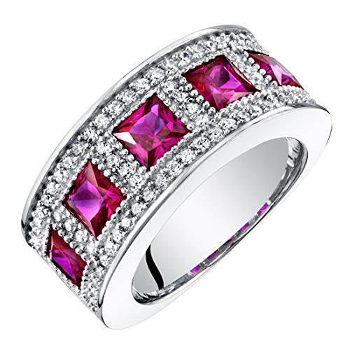 Sterling Silver Princess Cut Created Ruby Anniversary Ring Band Wide Width 2 Carats Size 8