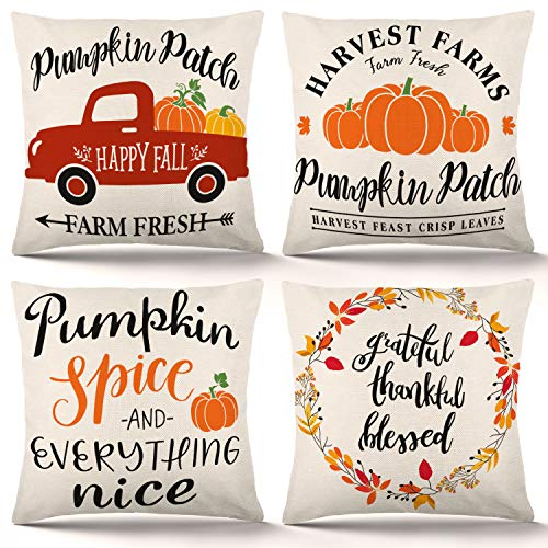 YGEOMER Fall Pillow Covers 18×18 Inch Set of 4 Autumn Farmhouse Pillow Covers Holiday Rustic Linen Pillow Case for Sofa Couch Farmhouse Thanksgiving Fall Decorations Throw Pillow Covers