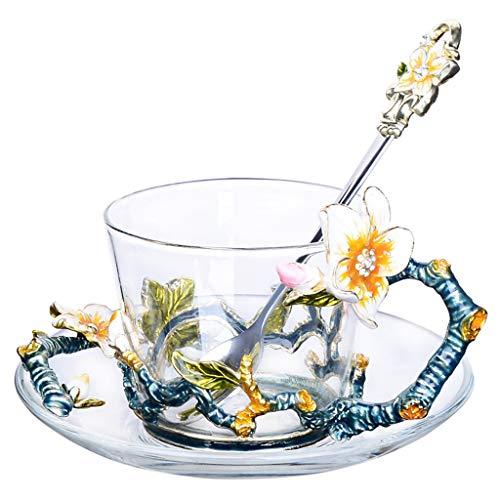Grand motif en verre émaillé cristal transparent verre thé tasse à café tasse à café voyage poignée cadeau boîte 7,8 oz-1 pack cadeau (Couleur : Bleu)