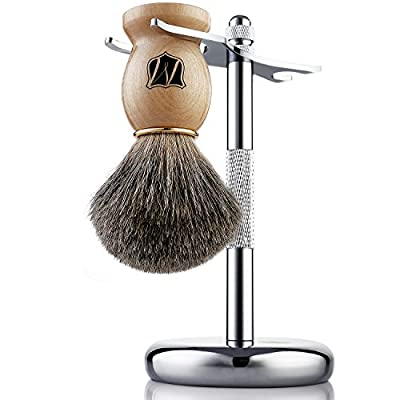 Miusco Badger Hair Wet Shaving Brush and Stand Set, Chrome, Silver, Compatible with Safety Razor and Gillette Razor