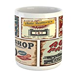 Lunarable 1950s Mug, Vintage Car Signs Automobile Advertising Repair Vehicle Garage Classics Servicing, Ceramic Coffee Mug Cup for Water Tea Drinks, 11 oz, Burgundy