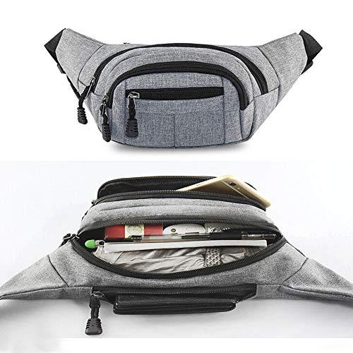 DQMEN Wasserdichte Bauchtasche Multifunktionale Hüfttasche 4 Fächer mit Reißverschluss Geeignet für Reise Wanderung und Alle Outdoor für Damen und Herren (Grau)