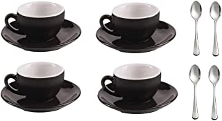 Nero - Set of 4 Modern Porcelain Black and White Espresso/Demitasse 3.2 Ounce Cups, Saucers, Stainless Steel Spoons, Tableware for Brunch, Dinner, Coffee and Dessert. By Equip