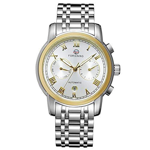 GJHBFUK Reloj de Hombre Moda Negocio De Negocios Analógico Automático Movimiento Mecánico Reloj Oro Blanco Dial