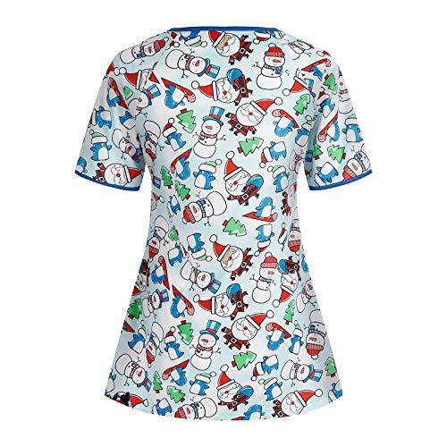 GJKK T-Shirt Kurzkasack Schlupfhemd Weihnachten Bluse Kurzarm V-Neck Damen mit Motiv...