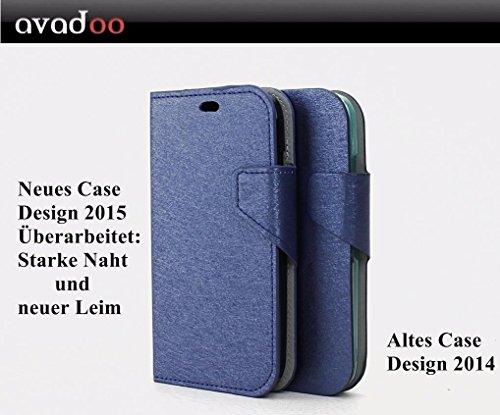 avadoo® Wiko Darknight Flip Hülle Cover in Blau mit Magnetverschluss stark vernäht & mit neuem Leim als Cover Tasche Hülle