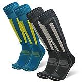 DANISH ENDURANCE Calcetines Térmicos de Esquí de Lana Merino 2 Pares (Multicolor: 1 x Gris Oscuro, 1 x Azul/Amarillo, EU 43-47)