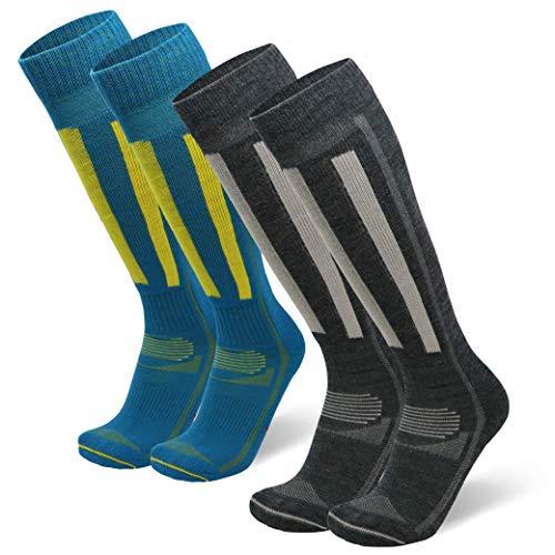 DANISH ENDURANCE Merino Ski-Prestaties Sokken voor Mannen en Vrouwen, 2-Pak, Merinowol, voor Skiën, Snowboarden, Wintersport, Kniehoge, Lange, Thermische, Gedempte Vulling
