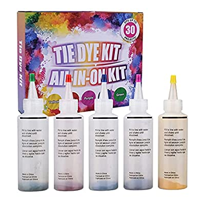 Tie Dye Kit, Conzy 5 Colors DIY Fabric Dye Art ...