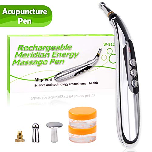 Migaven Acupuncture Pen, USB Rechargeable Electronic Acupuncture Meridian Therapy Machine Massager Relief Pain Tools