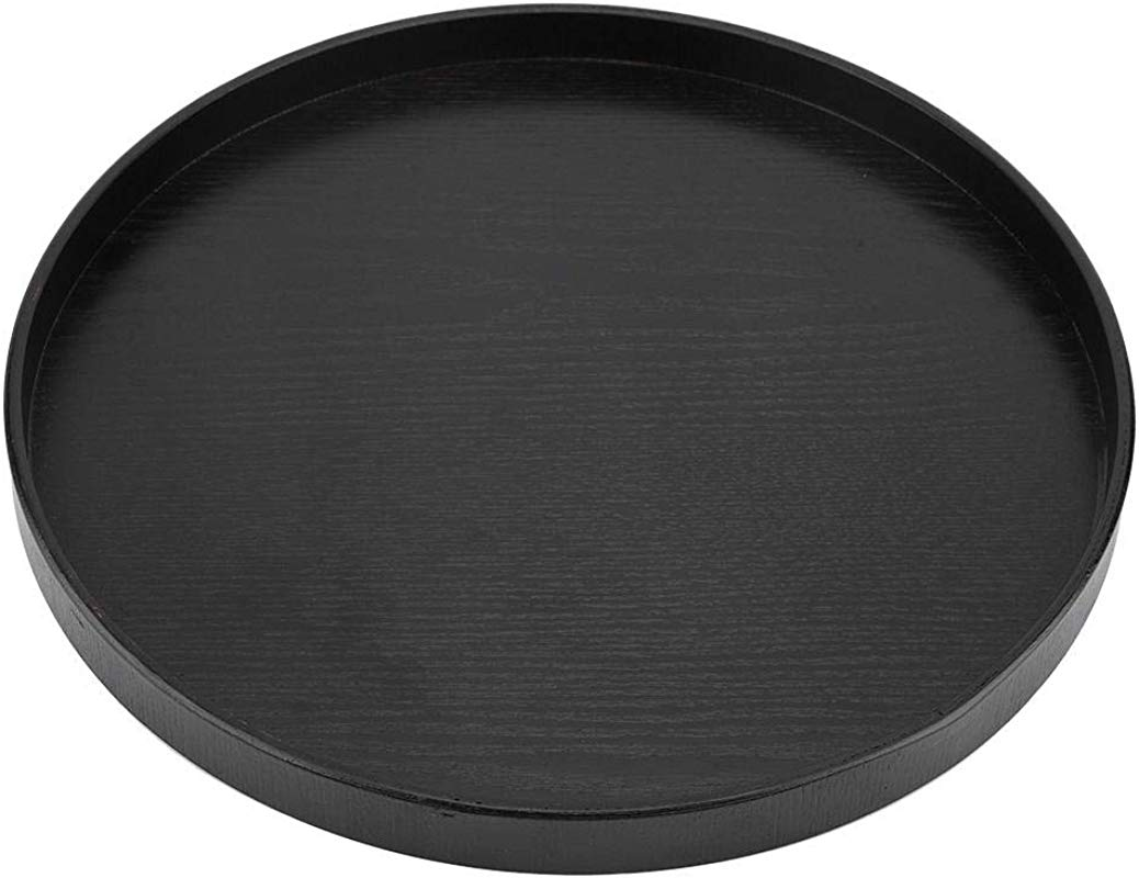 Round Natural Wood Serving Tray Wooden Plate Tea Food Server Dishes Water Drink Platter
